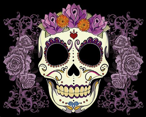 vintage sugar skull and roses digital art by tammy wetzel