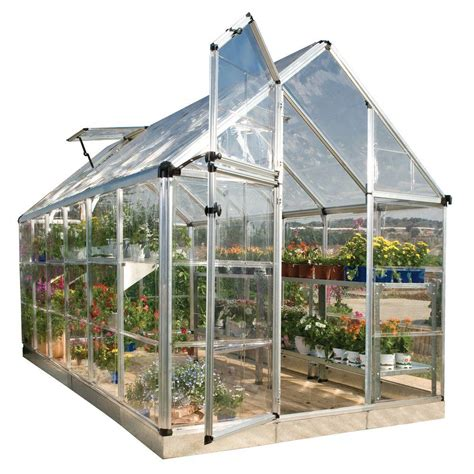 green houses home depot palram snap and grow 6 ft x 12 ft silver polycarbonate greenhouse 701526 the home