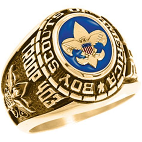 Cincin Eagle Scout Boy Scouts America Ring Band boy scout paragon ring in 10kt yellow gold