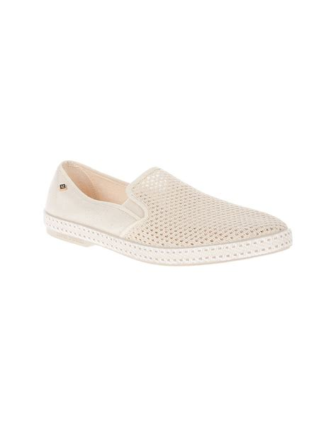 rivieras white mesh slip on shoes in white for lyst