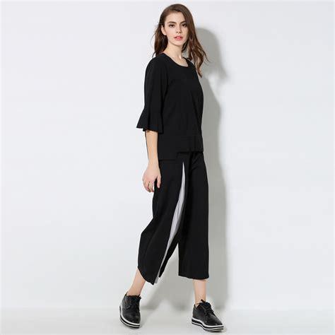 Set Toppants Black Size Xl 2 xl 5xl plus size set 2017 summer half sleeve tops and black wide leg sets