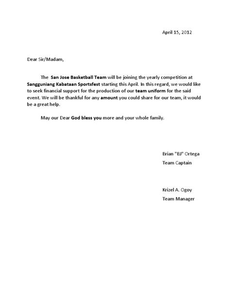 Letter For Basketball League Solicitation Letter