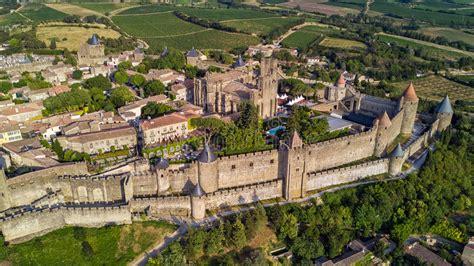 siege of carcassonne widok z lotu ptaka carcassonne średniowieczny miasto i