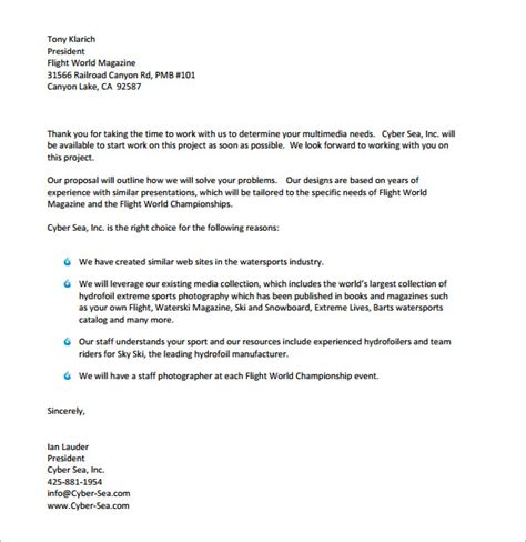 Financial Bid Letter 32 Sle Business Letters