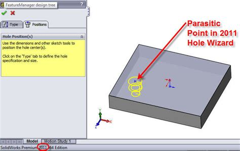 solidworks tutorial hole wizard no more quot parasitic quot points in the 2012 hole wizard