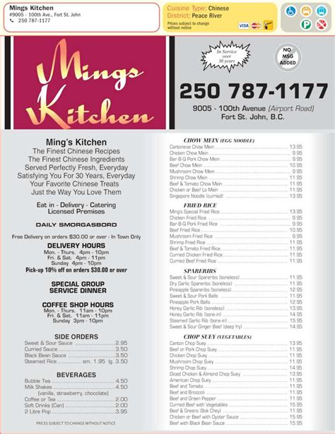 Kitchen Menu by Mings Kitchen Fort St Bc 9005 100 Ave Canpages