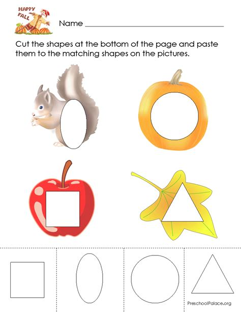 Cut And Paste Fall Worksheets by Lots Of Shape Printable Worksheets Fall