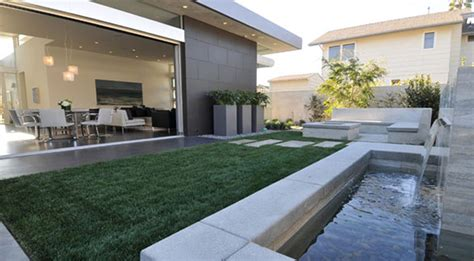 contemporary backyard playful modern backyard idea with pathway and l shaped banquette also garden waterfall