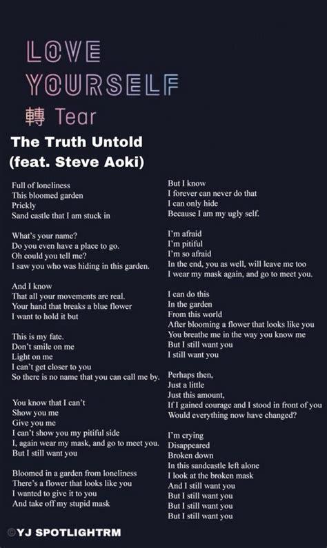 bts the untold lyrics 스포트라이트 on quot the untold feat steve aoki