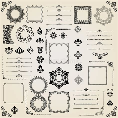 vintage menu design elements vector set vintage set of vector horizontal square and round