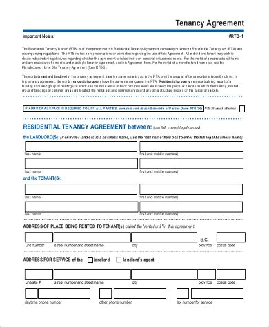 printable rental agreement bc sle blank rental agreement form 8 free documents in