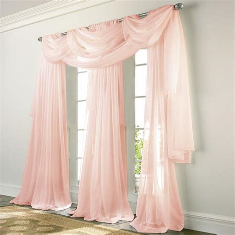 elegance voile pink sheer curtain bedbathhomecom