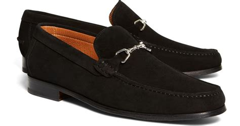 brothers suede loafers brothers suede buckle loafers in black for lyst