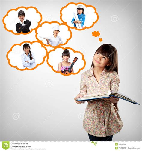 thinking from a to little asian thinking of future education stock image
