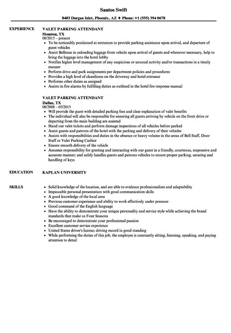 Valet Attendant Description by Valet Parking Resume Resume Ideas