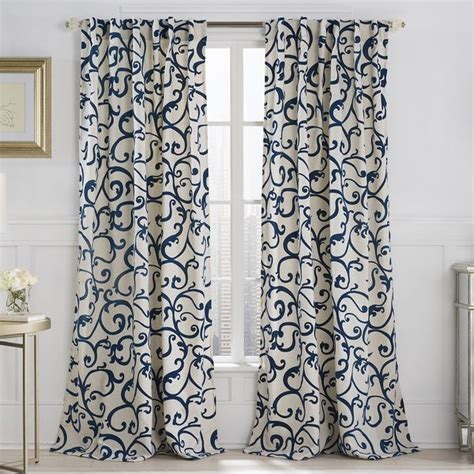 neutral color curtains vcny brandy flocked 84 inch back tab curtain panel by vcny