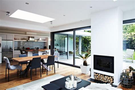 new home interior design kitchen extensions house with floor to ceiling glass and beautiful nature views