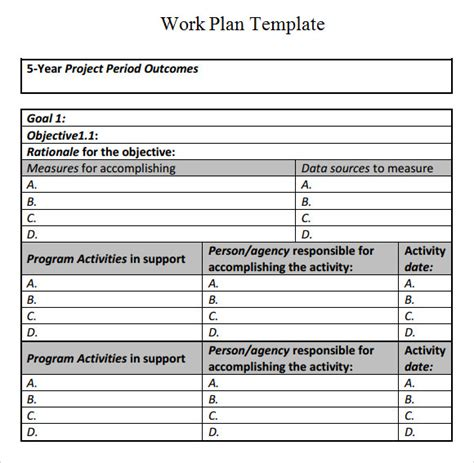 work plan template 17 download free documents for word