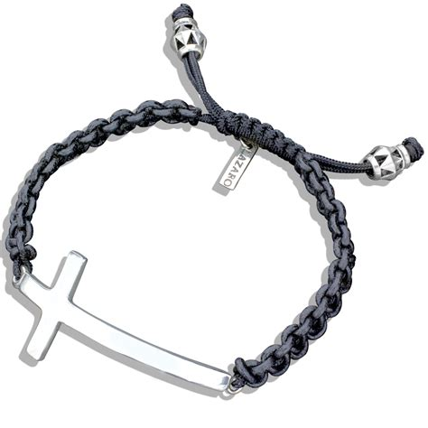 Silver Cross & Leather Braided Bracelet