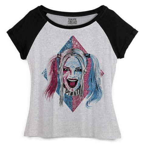 Raglan Harley Quinn camiseta raglan feminina esquadr 227 o suicida harley quinn puddin