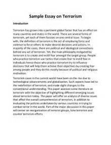 Terrorism Essay Topics by Sle Essay On Terrorism