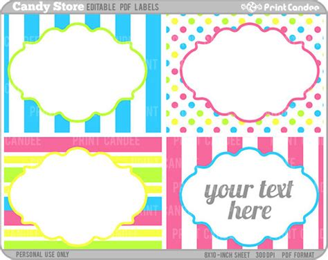 printable lollipop labels rectangle editable pdf 8x10 candy store labels