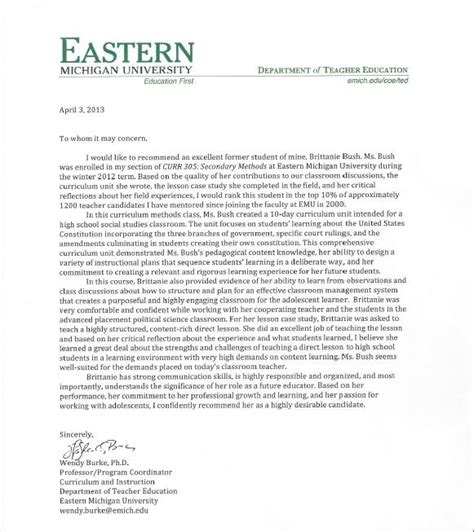 Recommendation Letter For Master Student From Professor Letters Of Recommendation Brittanie Bush S Portfolio