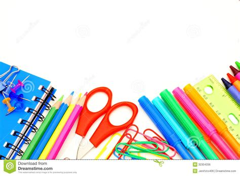 colorful office supplies design for mankind school border stock photo image of office instruments