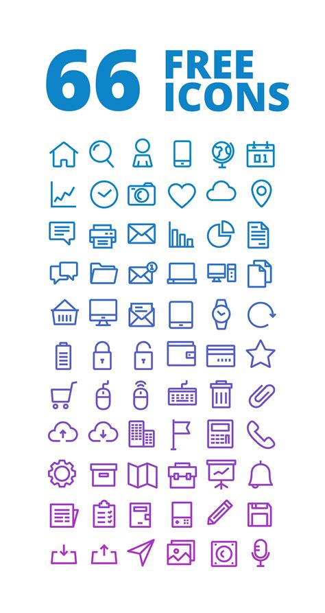 Free To - 66 outline free icons set icons fribly
