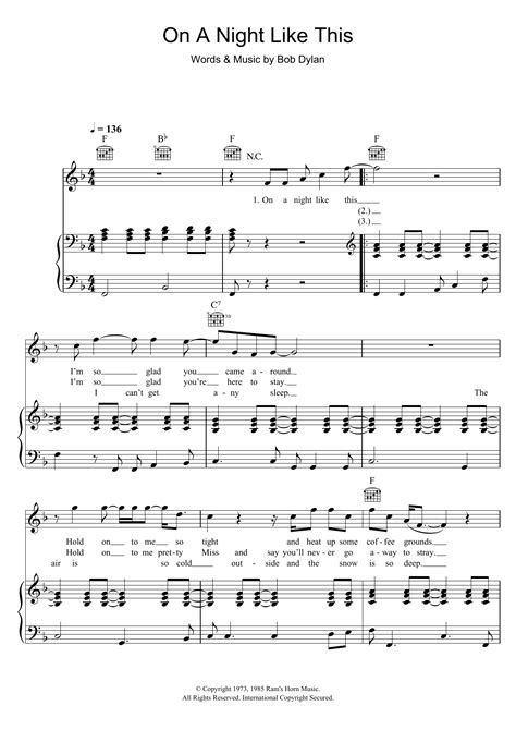 Bob Dylan - On A Night Like This at Stanton's Sheet Music