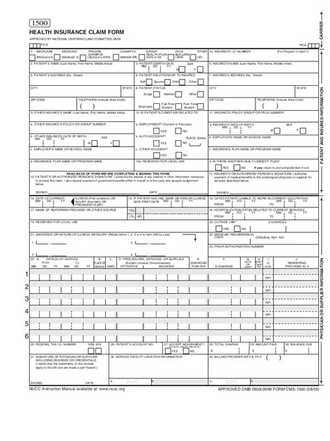 free cms 1500 claim form template health insurance claim form 1500 pdf clipartsgram