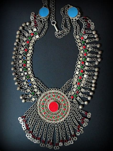 vintage swati tribal jewelry necklace from afghanistan