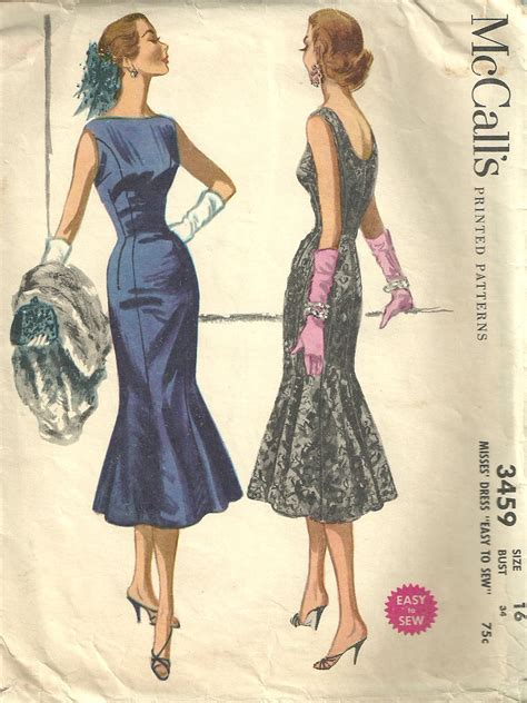 dress pattern etsy mccalls 3459 vintage 50s sewing pattern dress size 16