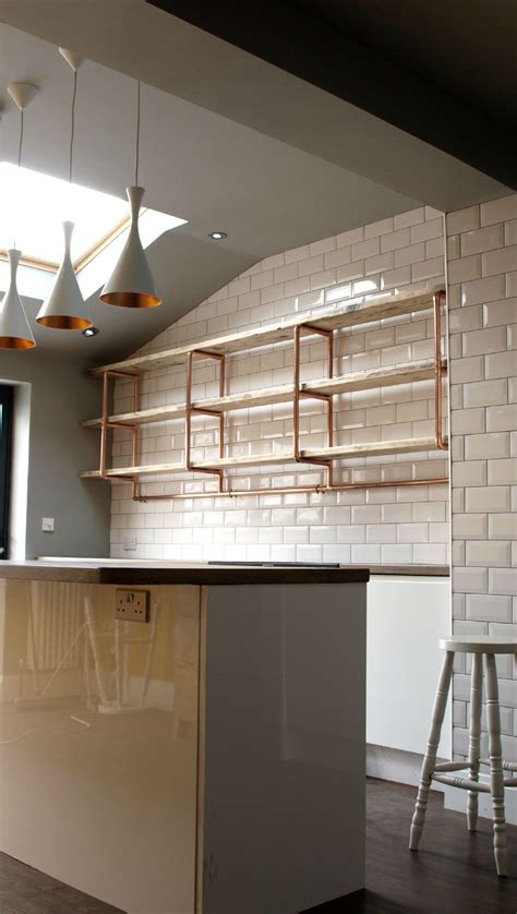 three tier long shelving unit for kitchen 28mm copper
