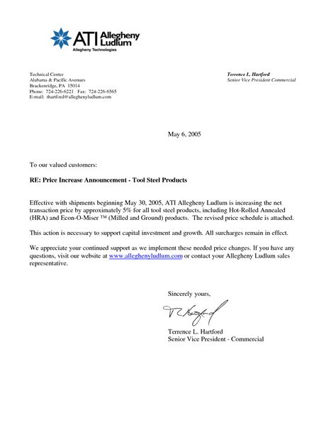 How To Improve Business Letter Writing business letter template price increase 28 images best