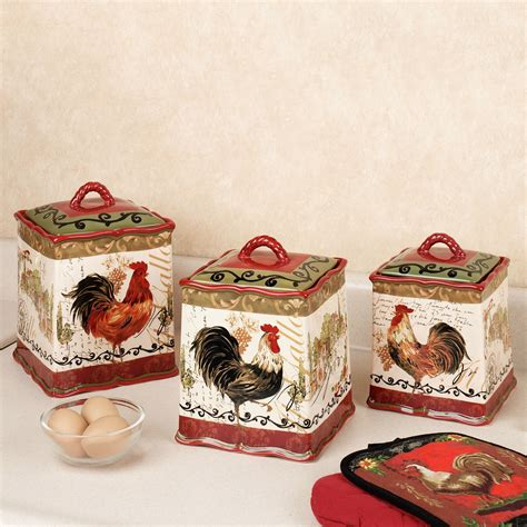 tuscan kitchen canisters sets tuscan rooster kitchen canister set