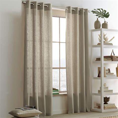Curtains For Dining Room Windows linen cotton grommet curtain flax west elm