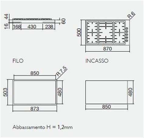 piano cottura misure standard barazza piano di cottura officina 1pof90 da incasso 90 cm
