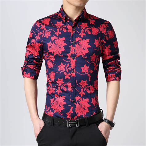 floral pattern shirt mens best flower floral casual shirt men big yards slim long