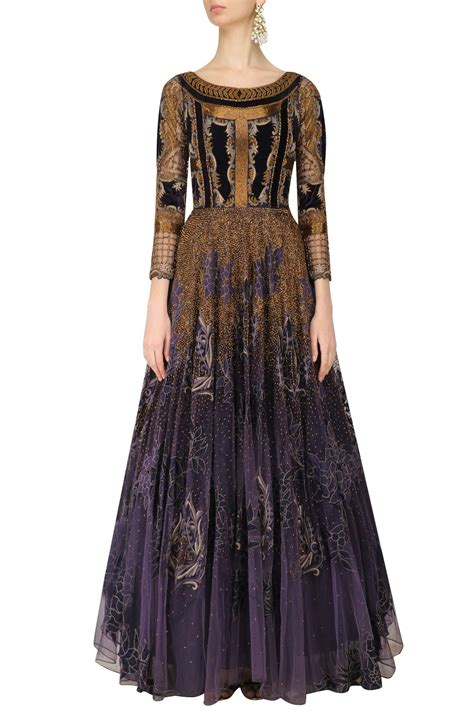 floor length ghera gown voilet color indo western gown with antique embroidery