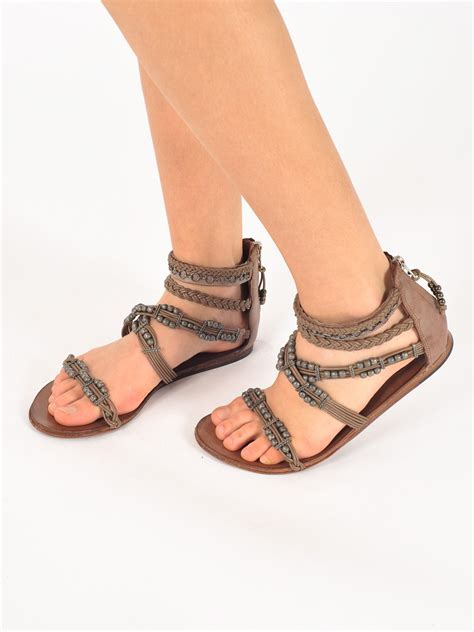 brown strappy flat sandals ash movida flat strappy sandal in brown lyst