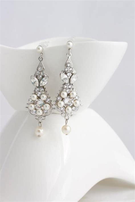 Vintage Bridal Chandelier Earrings Pearl And Wedding Earrings Vintage Bridal Earrings Small Chandelier Earrings Wedding