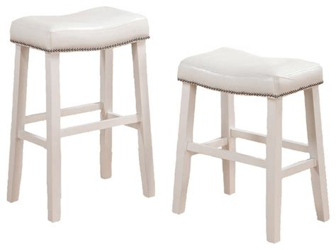 White Counter Height Bar Stools | 2 barstools faux leather saddle nailhead trim white