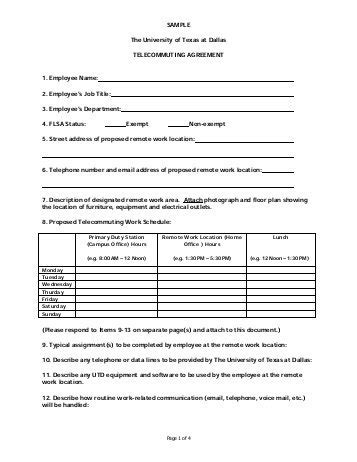 telework agreement template techrepublic s telecommuting policy lsntap