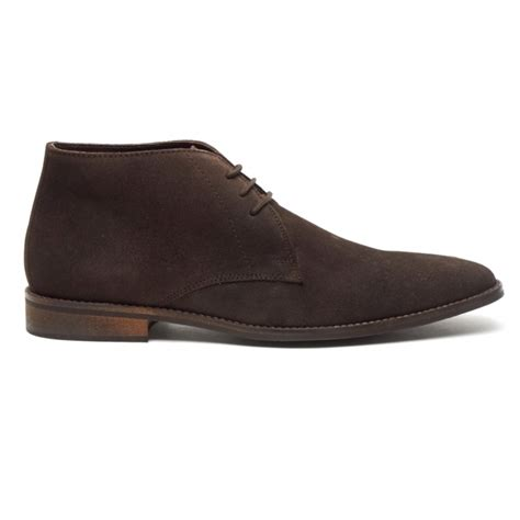 lucini dunn mens suede leather lace up chukka boots brown