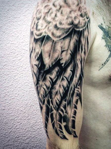 half sleeve angel tattoos for men black wing designs for guys half sleeve