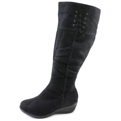 sahalie toronto faux suede brown knee high boot boots