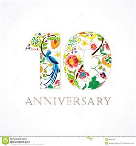 10 year anniversary color 10 anniversary folk logo stock vector image 58861506