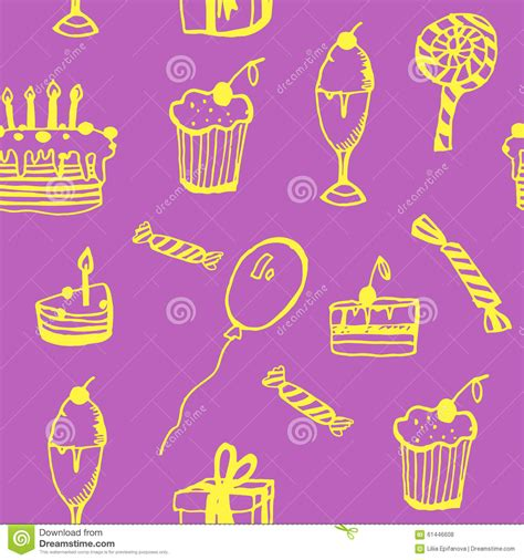 birthday pattern pink vector background seamless pattern of birthday with cake