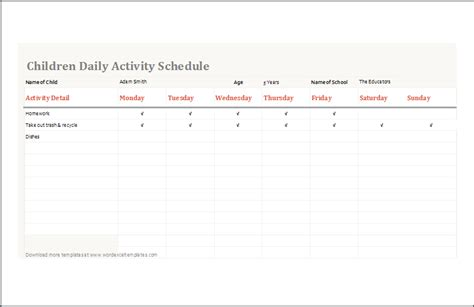 Kid Schedule Template by Children Daily Activity Schedule Template Ms Excel Word